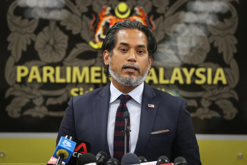 Science, Technology and Innovation Minister, Khairy Jamaluddin speaks during a press conference at Parliament in Kuala Lumpur July 14, 2020. — Picture by Yusof Mat Isa