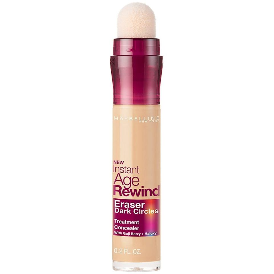 """<p>""""I tried this <product href=""""https://www.amazon.com/Maybelline-Makeup-Instant-Rewind-Concealer/dp/B004Y9GTYE/ref=zg_bs_11058281_18?_encoding=UTF8&amp;refRID=QX8SH86JMCVY2AF1V4AD&amp;th=1"""" target=""""_blank"""" class=""""ga-track"""" data-ga-category=""""internal click"""" data-ga-label=""""https://www.amazon.com/Maybelline-Makeup-Instant-Rewind-Concealer/dp/B004Y9GTYE/ref=zg_bs_11058281_18?_encoding=UTF8&amp;refRID=QX8SH86JMCVY2AF1V4AD&amp;th=1"""" data-ga-action=""""body text link"""">Maybelline Makeup Instant Age Rewind Concealer</product> ($8) and immediately fell in love with it. This pick is a bestseller on Amazon, and for good reason. <a href=""""https://www.popsugar.com/beauty/Maybelline-Makeup-Instant-Age-Rewind-Concealer-Review-44843248"""" class=""""ga-track"""" data-ga-category=""""internal click"""" data-ga-label=""""https://www.popsugar.com/beauty/Maybelline-Makeup-Instant-Age-Rewind-Concealer-Review-44843248"""" data-ga-action=""""body text link"""">The superconcentrated formula</a> is infused with goji berry to brighten and illuminate the under-eye area while it covers up your dark circles. The soft, spongy applicator allows the formula to glide on smoothly; the product is evenly distributed across your skin. After a couple swipes, I simply tap the concealer with my finger until it's fully blended. You would never know I have rings under my eyes because they vanish instantly."""" - MCW</p>"""