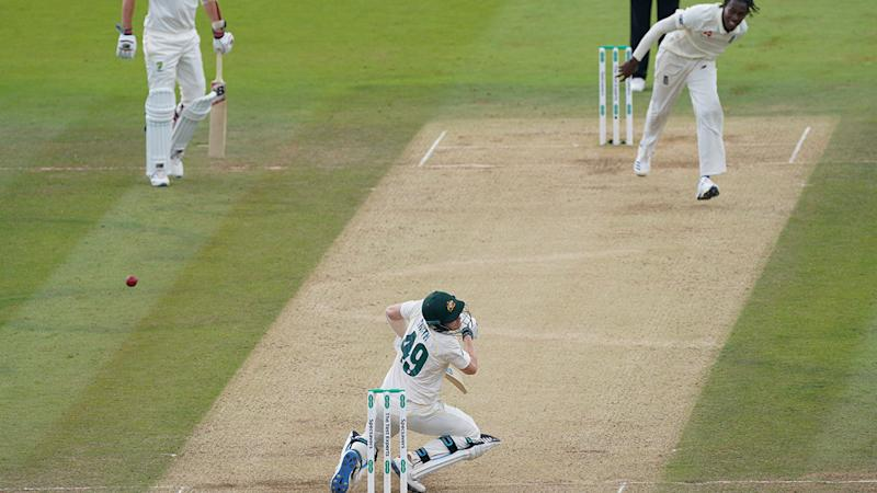 Steve Smith was felled by a frightening bouncer. (Photo by Jed Leicester/Getty Images)