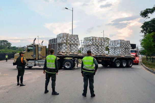 PHOTO: Trucks loaded with humanitarian aid for Venezuela drive towards the Tienditas Bridge in Cucuta, Colombia, on the border with Tachira, Venezuela, Feb. 16, 2019. (Luis Robayo/AFP/Getty Images)