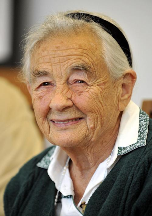 """File-This July 25, 2008 file photo shows Maria von Trapp, daughter of Austrian Baron Georg von Trapp, smiling during a press conference at the Villa Trapp in Salzburg, Austria. The last surviving member of the famous Trapp Family Singers made famous in """"The Sound of Music"""" died this week at her home in Vermont. She was 99. (AP Photo/ Kerstin Joensson, File)"""