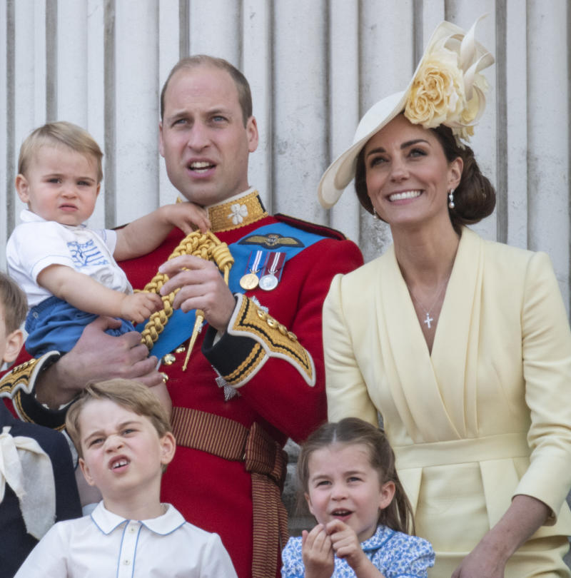 LONDON, ENGLAND - JUNE 08: Prince William, Duke of Cambridge with Catherine, Duchess of Cambridge, Princess Charlotte of Cambridge, Prince George of Cambridge and Prince Louis of Cambridge during Trooping The Colour, the Queen's annual birthday parade, on June 8, 2019 in London, England. (Photo by Mark Cuthbert/UK Press via Getty Images)