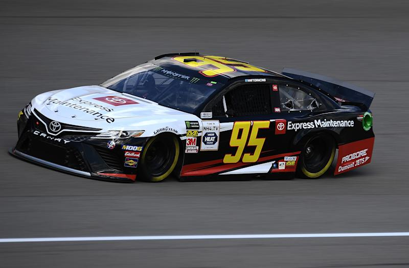 BROOKLYN, MICHIGAN - AUGUST 09: Matt DiBenedetto, driver of the #95 Toyota Express Maintenance Toyota, drives during practice for the Monster Energy NASCAR Cup Series Consumers Energy 400 at Michigan International Speedway on August 09, 2019 in Brooklyn, Michigan. (Photo by Stacy Revere/Getty Images)