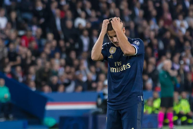 PARIS, FRANCE - SEPTEMBER 18: Eden Hazard of Real Madrid gestures during the UEFA Champions League group A match between Paris Saint-Germain and Real Madrid at Parc des Princes on September 18, 2019 in Paris, France. (Photo by TF-Images/Getty Images)