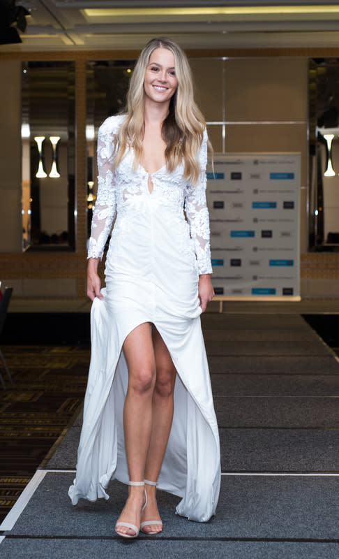 Helena Sauzier walks the runway at the Miss World Australia WA State Finals in 2018. Photo: Manish Bolla/MK Creative Imagery