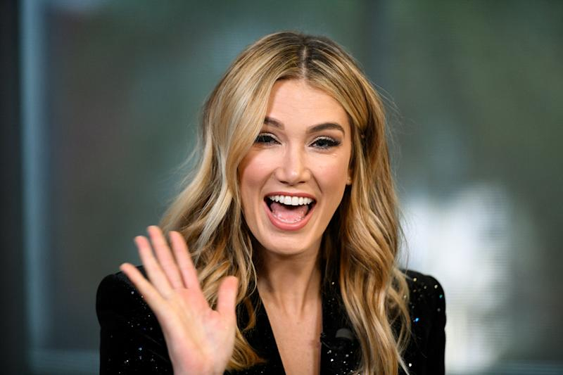 "A photo of Delta Goodrem on ""Extra"" at Universal Studios Hollywood on January 31, 2019 in Universal City, California."