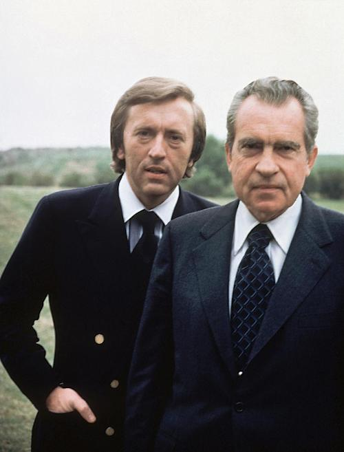 File - Former US President Richard M. Nixon, right, with broadcaster David Frost in California in this 1977 file photo. Sir David Frost has died at the age of 74 his family said in a statement Sunday Sept. 1 2013. (AP Photo, file)