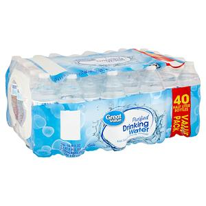 Great Value Purified Drinking Water Value Pack, 16.9 fl oz, 40 count