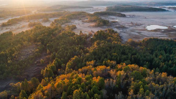 Foto dari udara yang diabadikan pada 27 September 2020 ini menunjukkan pemandangan musim gugur di Taman Hutan Nasional Saihanba di Chengde, Provinsi Hebei, China utara. (Xinhua/Liu Mancang)