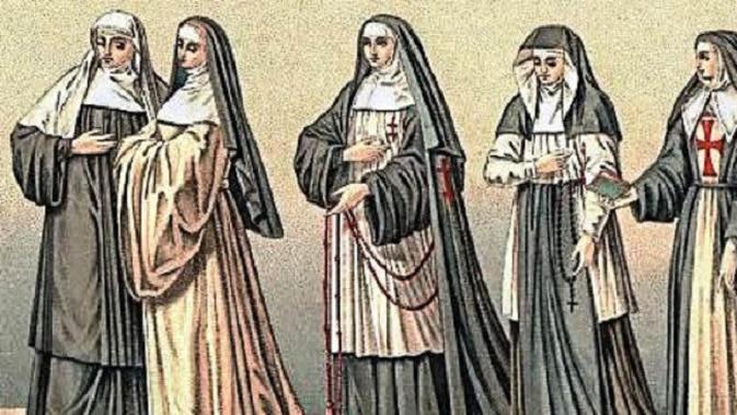 (Gambar: Aleteia) Lukisan para biarawati di abad pertengahan.