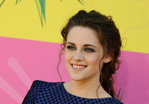 """In this March 23, 2013 file photo, actress Kristen Stewart arrives at the 26th annual Nickelodeon's Kids' Choice Awards, in Los Angeles. Stewart has signed on to play the lead in Drake Doremus' futuristic love story """"Equals,"""" and it's making her a nervous wreck. """"I can't believe I agreed to do it,"""" said the actress during a recent phone interview of the sci-fi drama, also starring """"X-Men: Days of Future Past"""" star Nicholas Hoult. (Photo by Jordan Strauss/Invision/AP, File)"""