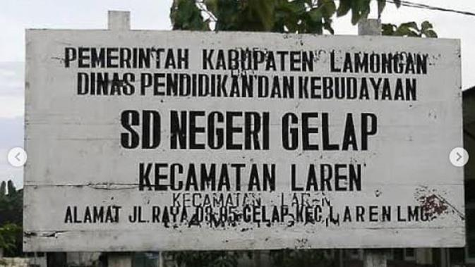 Khofifah Indar Parawansa juga mengunggah sekolah yang memiliki nama unik, yaitu SDN Negeri Gelap (Dok.Instagram/@khofifah.ip/https://www.instagram.com/p/B5lnR2Nh_Ie/Komarudin)
