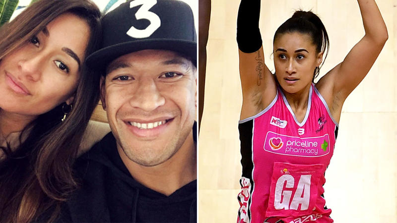Maria and Israel Folau, pictured here throughout various stages of 2019.