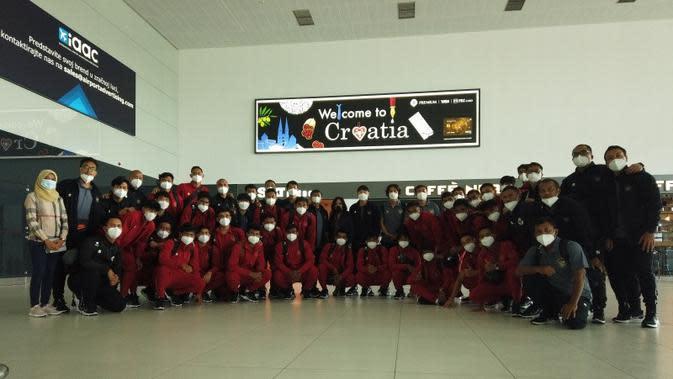 Timnas Indonesia U-19 tiba di Kroasia, Minggu (30/8/2020). (Dok PSSI)