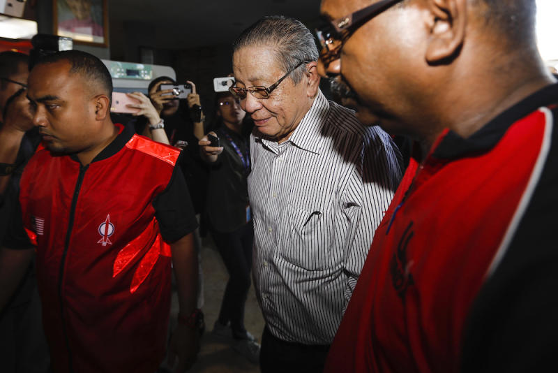 Lim Kit Siang arrives for a meeting at DAP's headquarters February 24, 2020. — Picture by Miera Zulyana