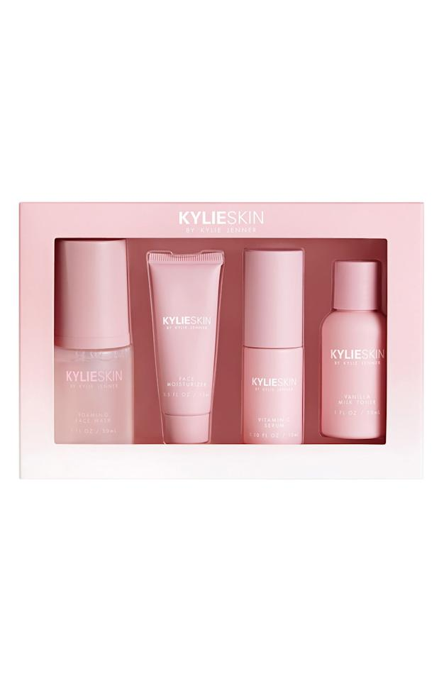 """<p><strong>KYLIE SKIN</strong></p><p>nordstrom.com</p><p><strong>$39.00</strong></p><p><a href=""""https://go.redirectingat.com?id=74968X1596630&url=https%3A%2F%2Fwww.nordstrom.com%2Fs%2Fkylie-skin-4-piece-mini-skincare-set%2F5516008&sref=https%3A%2F%2Fwww.seventeen.com%2Flife%2Fg24068177%2Fgifts-for-tween-girls%2F"""" target=""""_blank"""">Shop Now</a></p><p>Get that *glow* like Kylie Jenner. This set comes with all the Kylie Skin staples required for billionaire skin. </p>"""