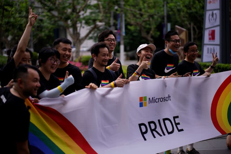 Participants take part in a Pride Run during the Shanghai Pride festival, in Shanghai