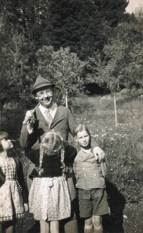 1935 photo provided by German newspaper 'Die Welt' shows a family photo of Heinrich Himmler in Valepp, Bavaria. The picture shows Himmler with his daughter Gudrun, front, his son Gerhard, right, and a friend of Gudrun, left. The photo is part of a trove of letters, notes and photos that were in possession of an Israeli family. The letters are believed to be written by Nazi SS leader Heinrich Himmler and had not been shown to the public. The newspaper said the material is contained in an eight-part series it plans to publish. Himmler is considered one of the Nazis most responsible for the Holocaust. (AP Photo/Realworks Ltd./DIE WELT, HO) MANDATORY CREDIT Realworks Ltd./DIE WELT - http://www.welt.de/geschichte/himmler/article124223862/Insight-into-the-orderly-world-of-a-mass-murderer.html