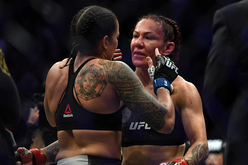 """INGLEWOOD , CA - DECEMBER 29: Amanda Nunes""""thugs Cris Cyborg after Nunes defeated her by first round knockout to become the new UFC Women""""u2019s Featherweight Champion during UFC 232 at the Forum in Inglewood Ca, Saturday, Dec 29, 2018. (Photo by Hans Gutknecht/Digital First Media/Los Angeles Daily News via Getty Images)"""
