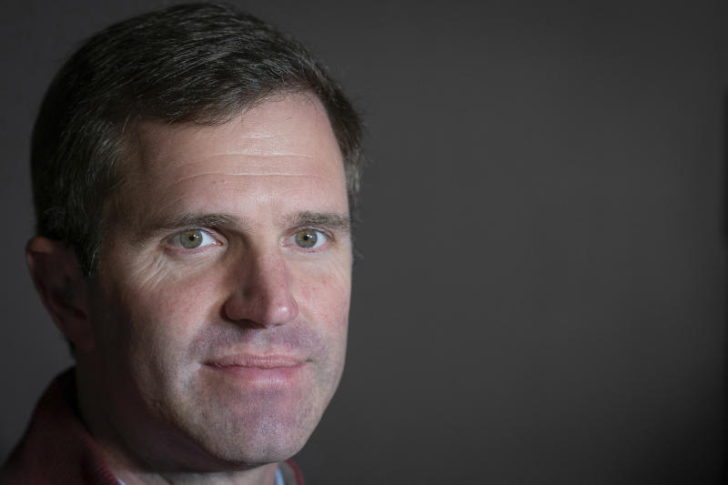 Kentucky Attorney General and Democratic Gubernatorial Candidate Andy Beshear poses for a photograph after voting, Tuesday, Nov. 5, 2019, in Louisville, Ky. (AP Photo/Bryan Woolston)