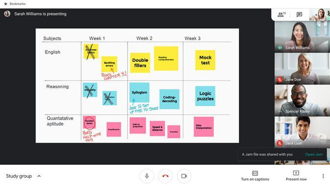 Tampilan whiteboard virtual yang ada di Google Meet. (Doc. Google)