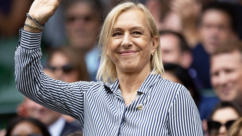 Martina Navratilova is introduced to the crowd at Wimbledon. (Photo by Visionhaus/Getty Images)