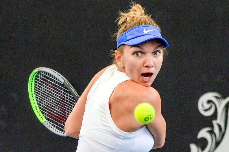 Two-time Grand Slam winner Simona Halep of Romania was knocked out by Aryna Sabalenka of Belarus