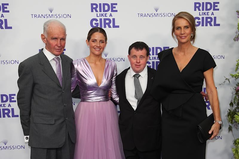 A photo of Paddy Payne, Michelle Payne, Stevie Payne and Rachel Griffiths at the world premiere of RIDE LIKE A GIRL at Village Jam Factory on September 08, 2019 in Melbourne, Australia.