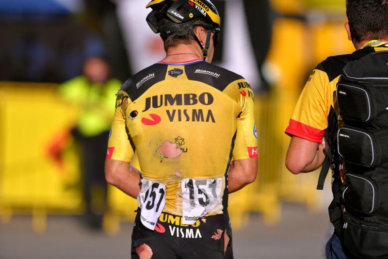 Dylan Groenewegen (Jumbo-Visma) walks away from a high-speed crash at the Tour de Pologne