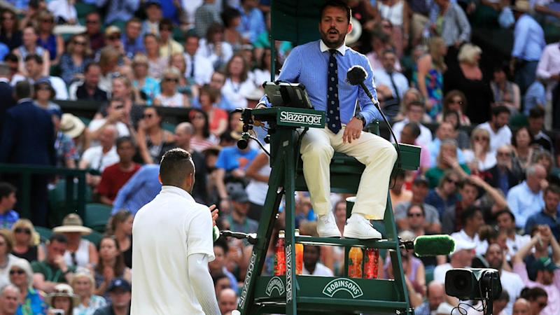 Nick Kyrgios speaks with the umpire about Rafael Nadal. (Photo by Adam Davy/PA Images via Getty Images)