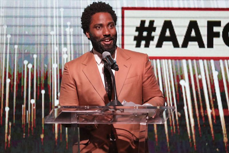 LOS ANGELES, CALIFORNIA - FEBRUARY 06: John David Washington speaks onstage during the 10th Annual AAFCA Awards at Taglyan Complex on February 06, 2019 in Los Angeles, California. (Photo by Rich Fury/Getty Images)