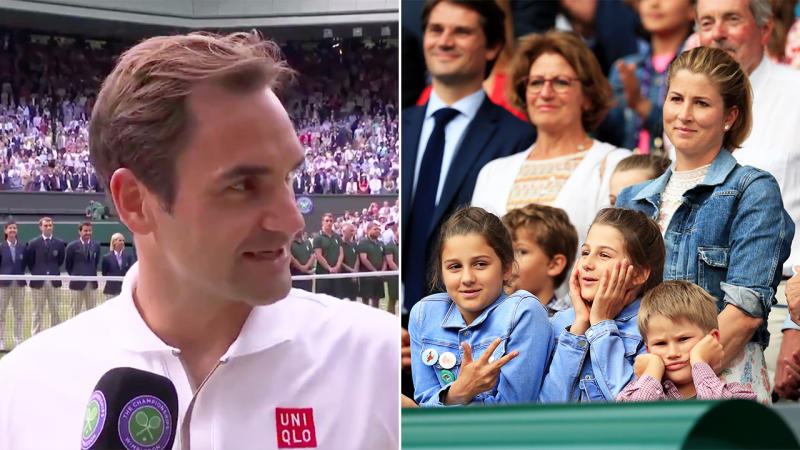 Roger Federer shared a beautiful moment with his family after his loss to Novak Djokovic. (Images: @Wimbledon/Getty Images)