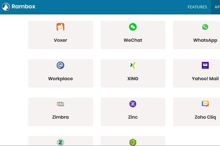 Rambox supported apps screenshot