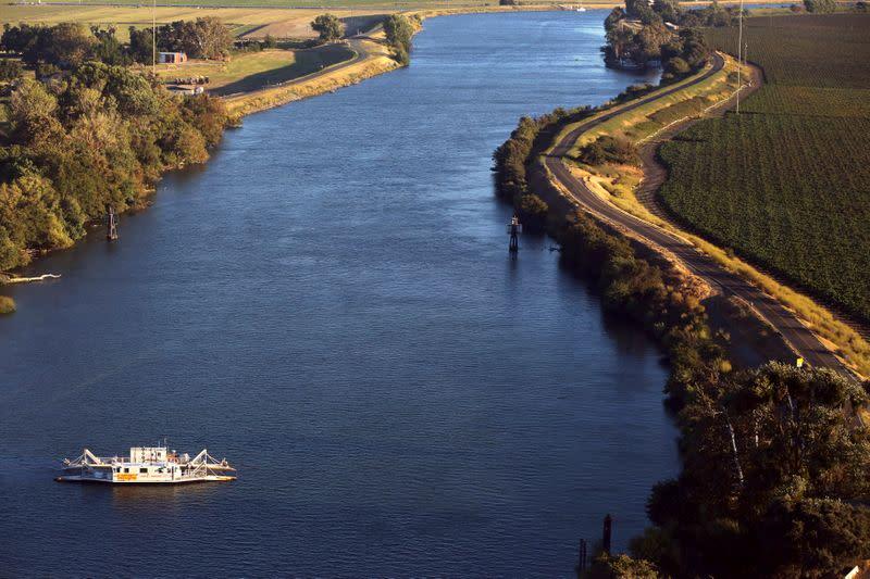 Aerial view of a ferry in the Sacramento San Joaquin River Delta near Rio Vista, California