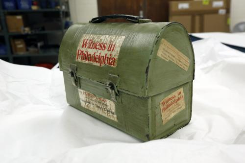 In this Oct. 11, 2013 photograph, a lunch box that belonged to civil rights activist and author Florence Mars, will eventually be displayed in the civil rights museum in Jackson, Miss. Officials say they did not set out to have separate-but-equal museums for the documentation of the state's history, but it could end up that way. Mississippi breaks ground Thursday. Oct. 24, 2013, on side-by-side museums that are expected to break ground of their own in how they depict the Southern state once rocked by racial turmoil. (AP Photo/Rogelio V. Solis)