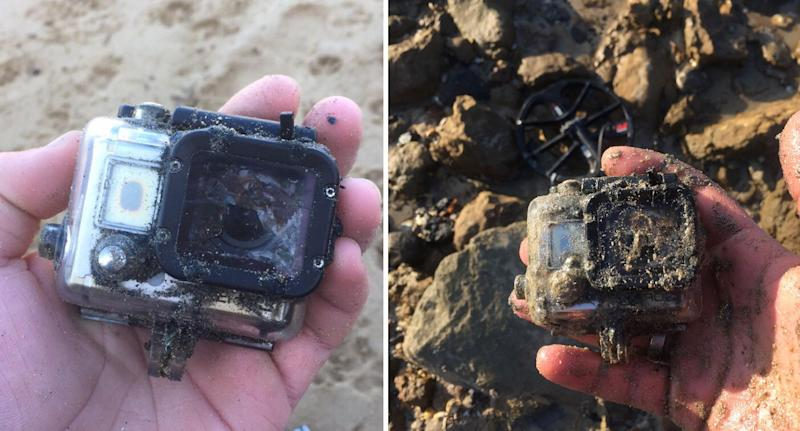 Photos show the state the found GoPro, covered in sand and smelling of 'sewer', was in after being lost for six years Ocean Grove Beach.