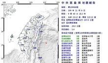 東部海域9:40規模5.4有感地震 全台有感