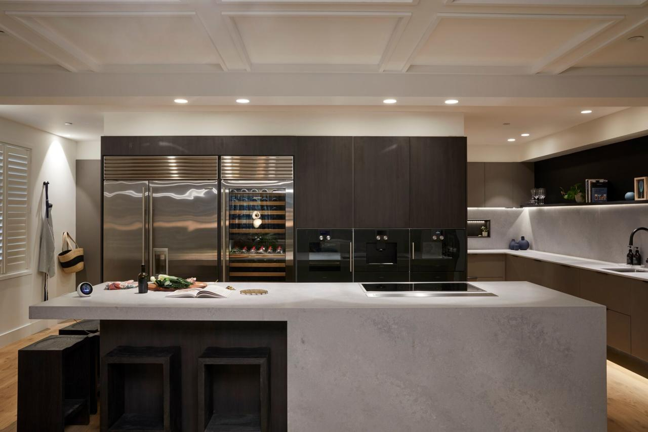 <p>The judges loved all the bells and whistles in the most expensive kitchen ever on The Block, including all of the Gaggenau appliances the couple had won in the safe. Photo: Supplied/Channel Nine </p>
