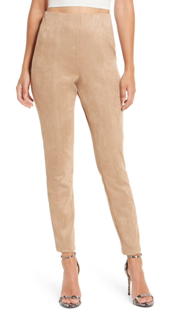BLANKNYC Faux Suede Leggings in Tan