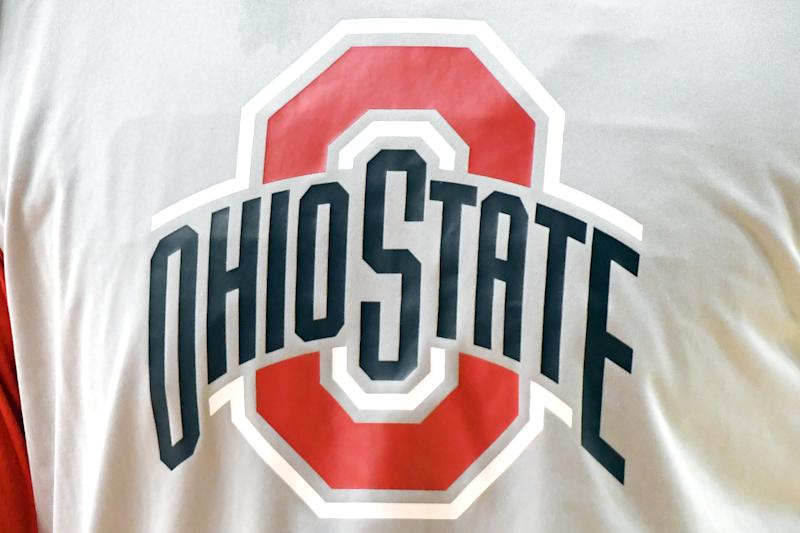 COLLEGE PARK, MD - FEBRUARY 23: The Ohio State Buckeyes logo on a sweat shirt before a college basketball game against the Maryland Terrapins at the XFinity Center on February 23, 2019 in College Park, Maryland. (Photo by Mitchell Layton/Getty Images) *** Local Caption ***
