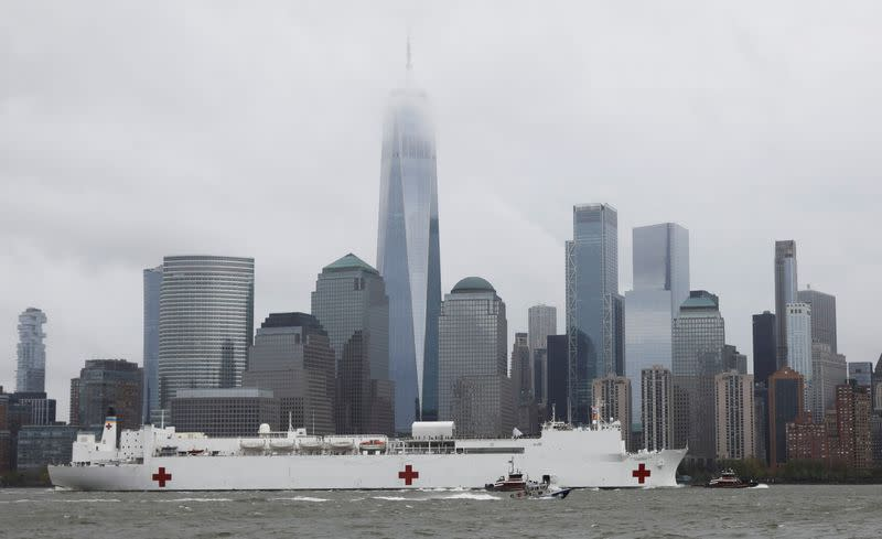 Hospital ship USNS Comfort departs Manhattan during the outbreak of coronavirus disease (COVID-19) in New York
