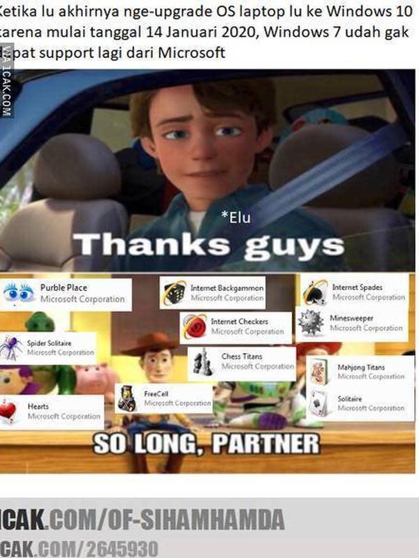Meme perpisahan dengan Windows 7 (Sumber: 1cak.com)
