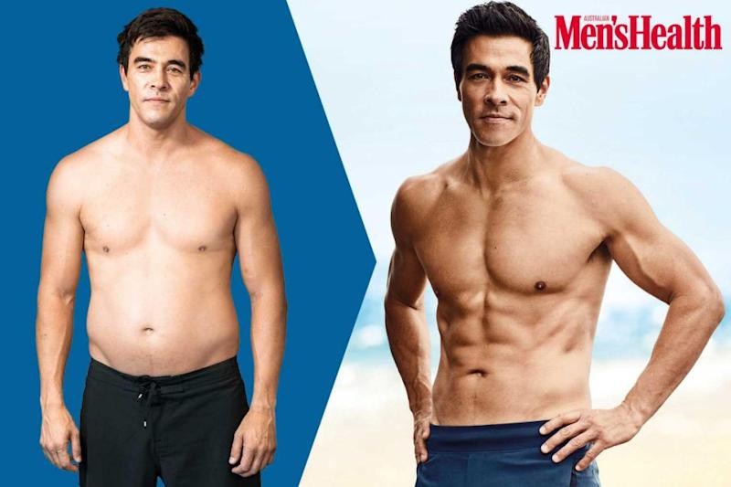 He lost half his body weight after a gruelling 8-week fitness and diet regime. Source: Men's Health