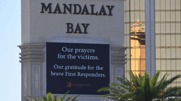 PHOTO: A sign outside the Mandalay Hotel is seen, Oct. 2, 2017, after a gunman killed more than 50 people and wounded more than 200 others when he opened fire on a country music festival in Las Vegas. (Mark Ralston/AFP/Getty Images)