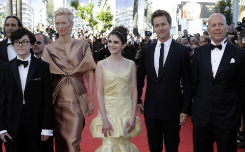 Cast members of Moonrise Kingdom, from left, Jared Gilman, Tilda Swinton, Kara Hayward, Edward Norton and Bruce Willis arrive for the opening ceremony and screening of Moonrise Kingdom at the 65th international film festival, in Cannes, southern France, Wednesday, May 16, 2012. (AP Photo/Lionel Cironneau)