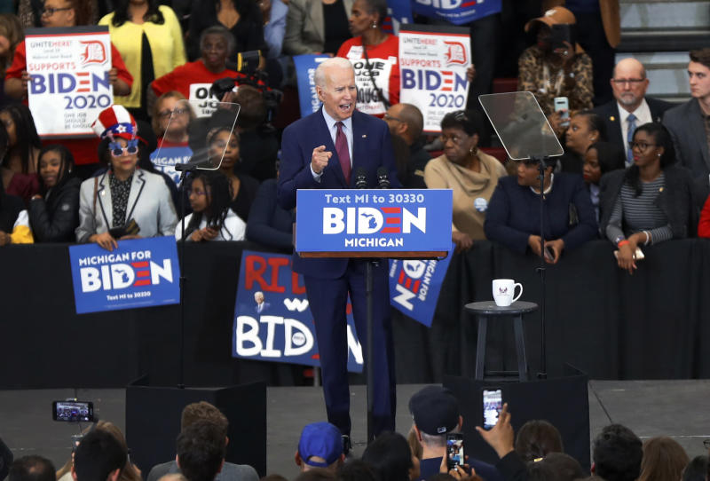 FILE - In this March 9, 2020, file photo, Democratic presidential candidate former Vice President Joe Biden speaks during a campaign rally at Renaissance High School in Detroit. Google said state-based hackers have targeted the campaigns of both President Donald Trump and Biden, although it saw no evidence that the phishing attempts were successful. The company confirmed the findings after the director of its Threat Analysis Group, Shane Huntley, disclosed the attempts Thursday, June 4, 2020, on Twitter. (AP Photo/Paul Sancya, File)