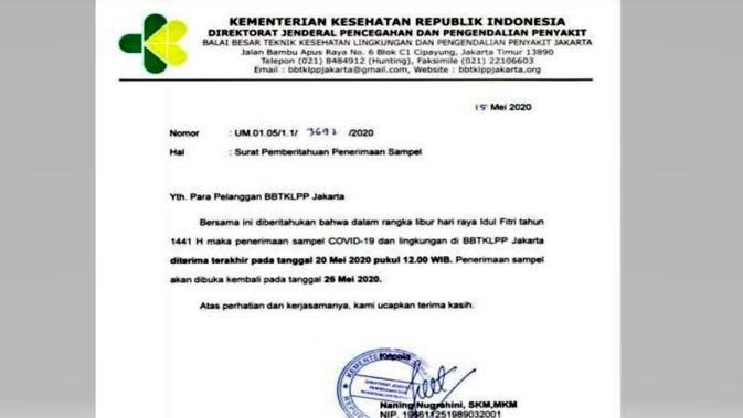 Beredar viral surat edaran BBTKLPP Jakarta yang menyebut, penerimaan sampel COVID-19 diliburkan, terakhir pada 20 Mei 2020 dan kembali dibuka pada 26 Mei 2020. Kementerian Kesehatan menyebut, pemberitahuan tersebut tidak benar. (Dok Istimewa)