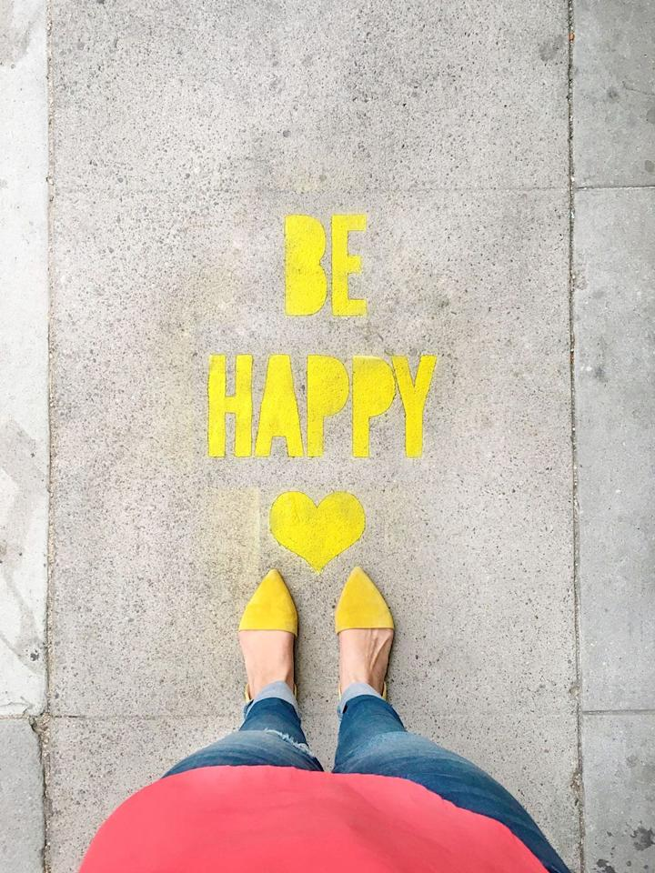 """<p>Buy or make stencils bearing cheerful or inspiring messages to serve as fun — even moving — affirmations for all who pass by. Think """"Be You"""" or """"Be Happy"""" — or whatever feels right.</p><p><em><a href=""""https://lovelyindeed.com/diy-stencil-spray-chalk-sidewalk-messages"""" target=""""_blank"""">Get the tutorial from Lovely Indeed »</a></em></p>"""