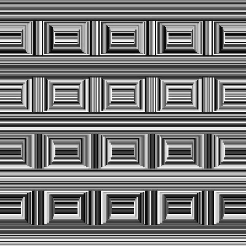 """<p>Many viewers look at this illusion and see elaborately decorated rectangles, like picture frame decorations or panels on a coffer. But if you look again, <a href=""""https://www.popularmechanics.com/science/a33224851/how-many-circles-viral-coffer-illusion/"""" target=""""_blank"""">the effect is made</a> by floating circles that are perpendicular to the striped background.</p>"""