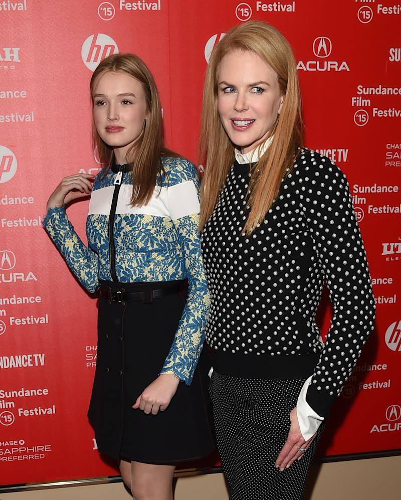 A photo of actresses Maddison Brown and Nicole Kidman on the red carpet at the 'Strangerland' premiere during the 2015 Sundance Film Festival at the Egyptian Theatre on January 23, 2015 in Park City, Utah.